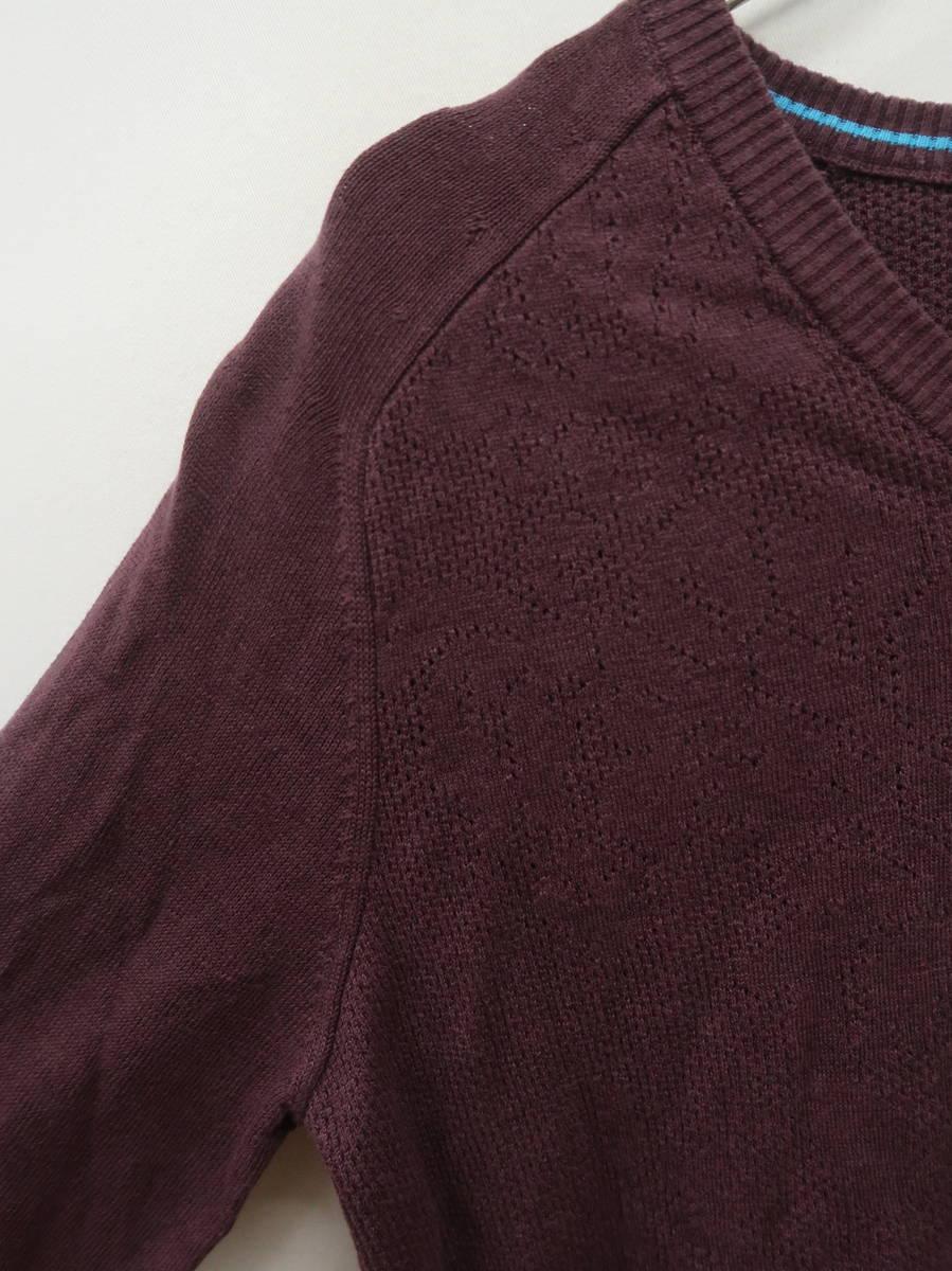 Dunhill LINKS 配色リネンニットトップス 長袖 紫/青 メンズ Aランク M [委託倉庫から出荷]
