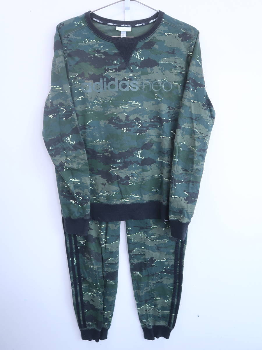 adidas neo(アディダスネオ)Camo Sweatshirtトレーナーセットアップ 長袖 緑 メンズ A-ランク L