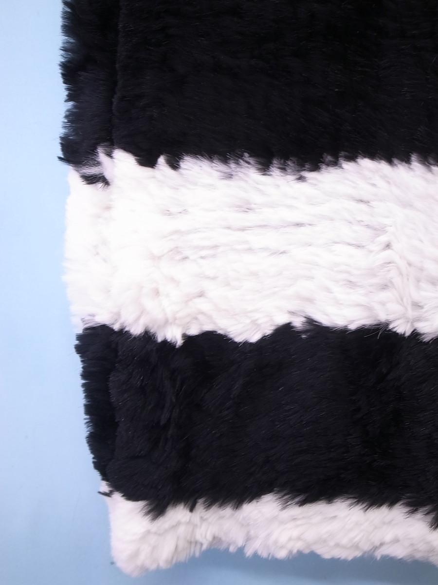 LE CIEL BLEU(ルシェルブルー)リアルファーボーダーストール 白 黒 レディース Aランク [委託倉庫から出荷]