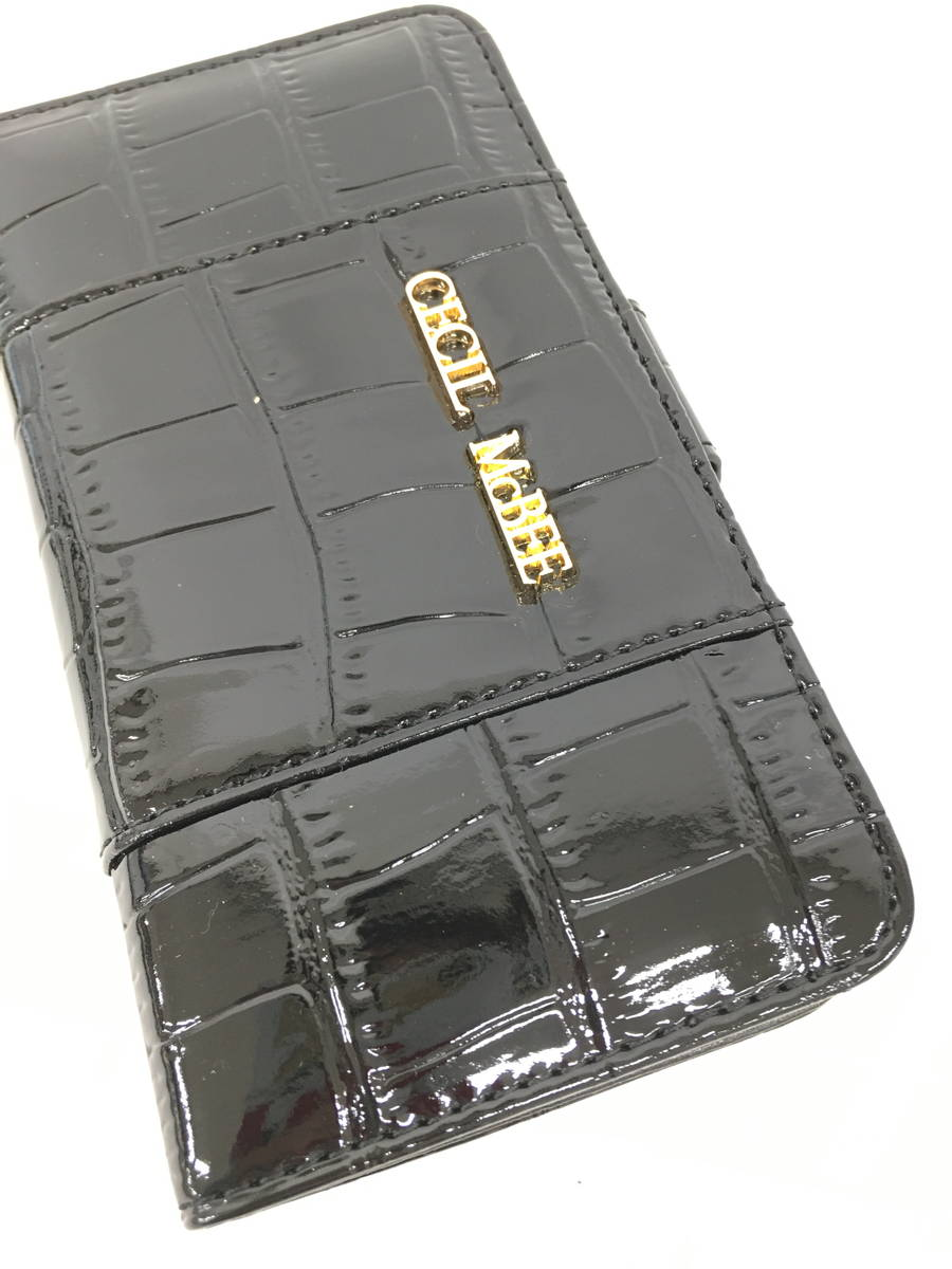 CECIL McBEE(セシルマクビー)クロコ型押しフェイクレザー手帳型スマホケース 黒/ゴールド レディース 新品