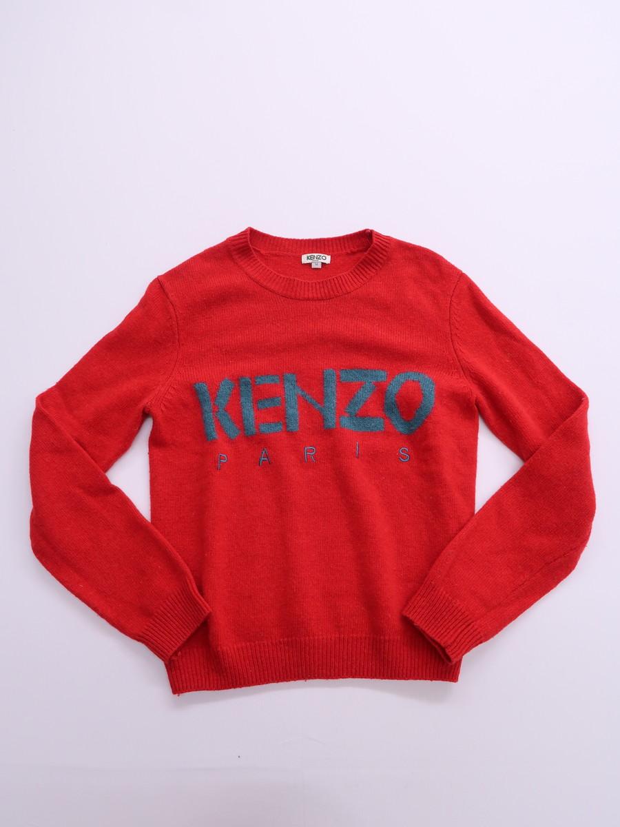 【送料無料】KENZO(ケンゾー)ウールニットトップス 長袖 赤 レディース Bランク M [委託倉庫から出荷]