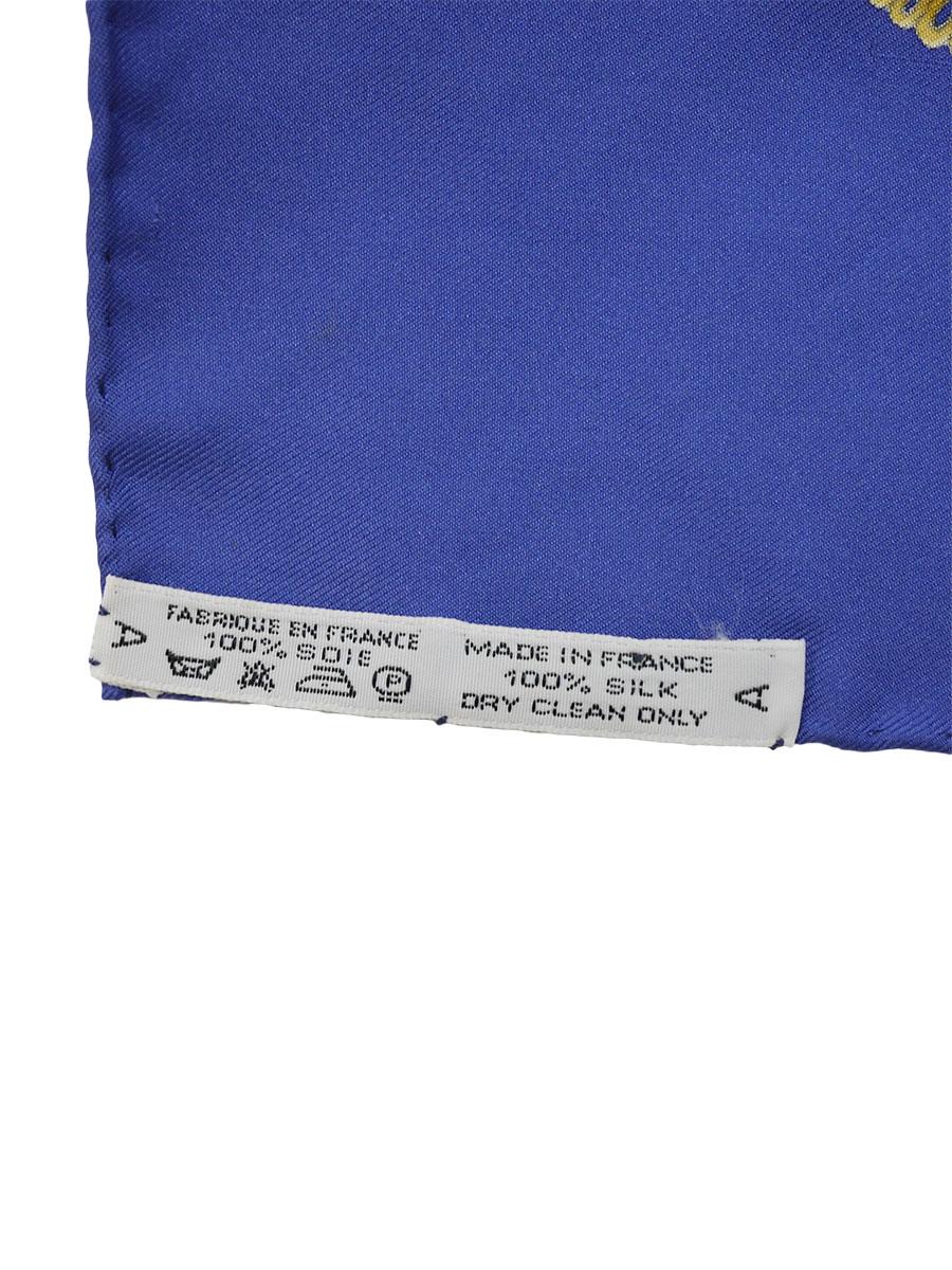 【送料無料】HERMES(エルメス)カレ90 シルクスカーフ 青/マルチカラー レディース Aランク [当店倉庫から出荷]