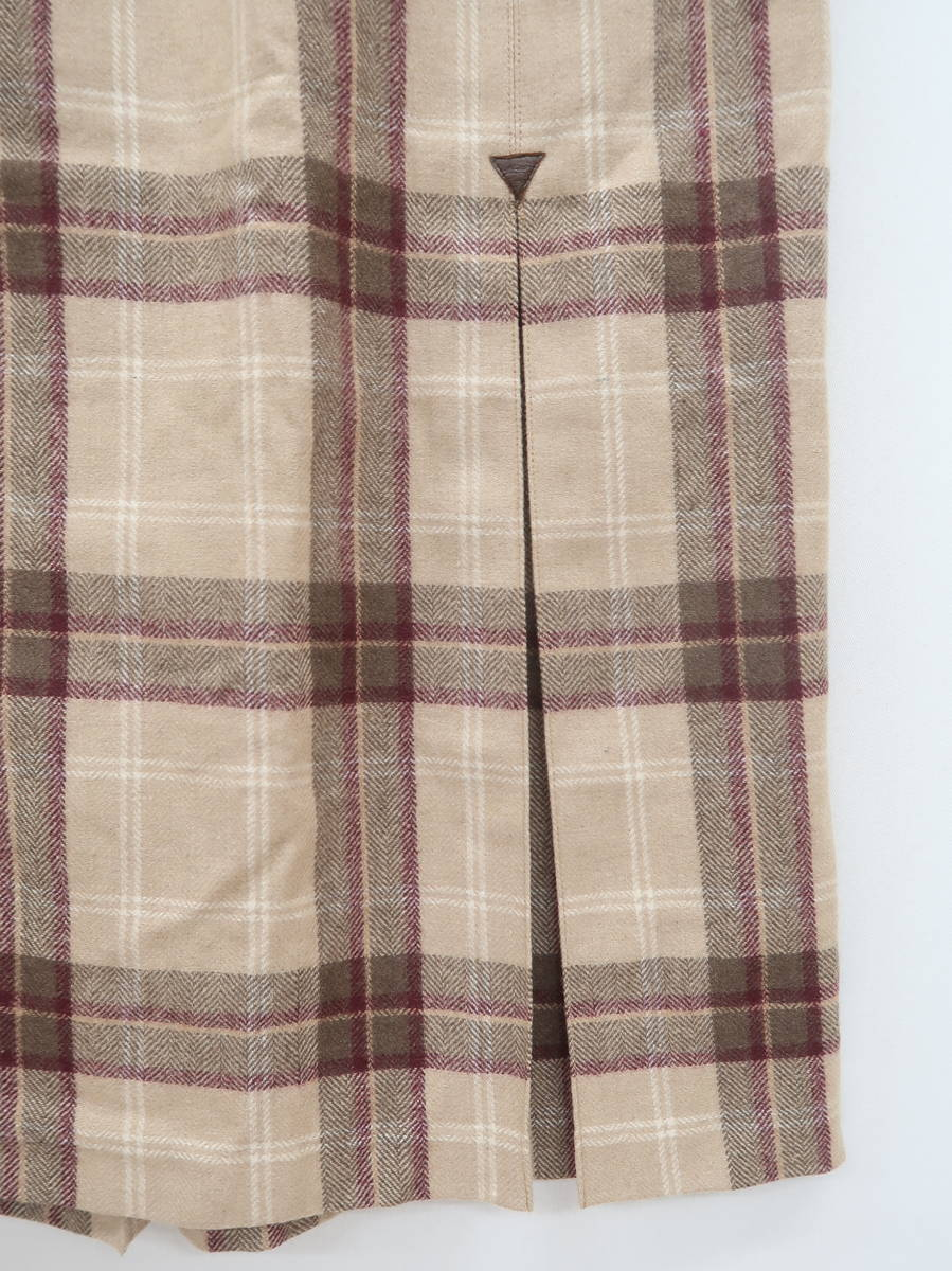 レトロチェックベルトデザインロングスカート ベージュ レディース Aランク 61-87 [委託倉庫から出荷]