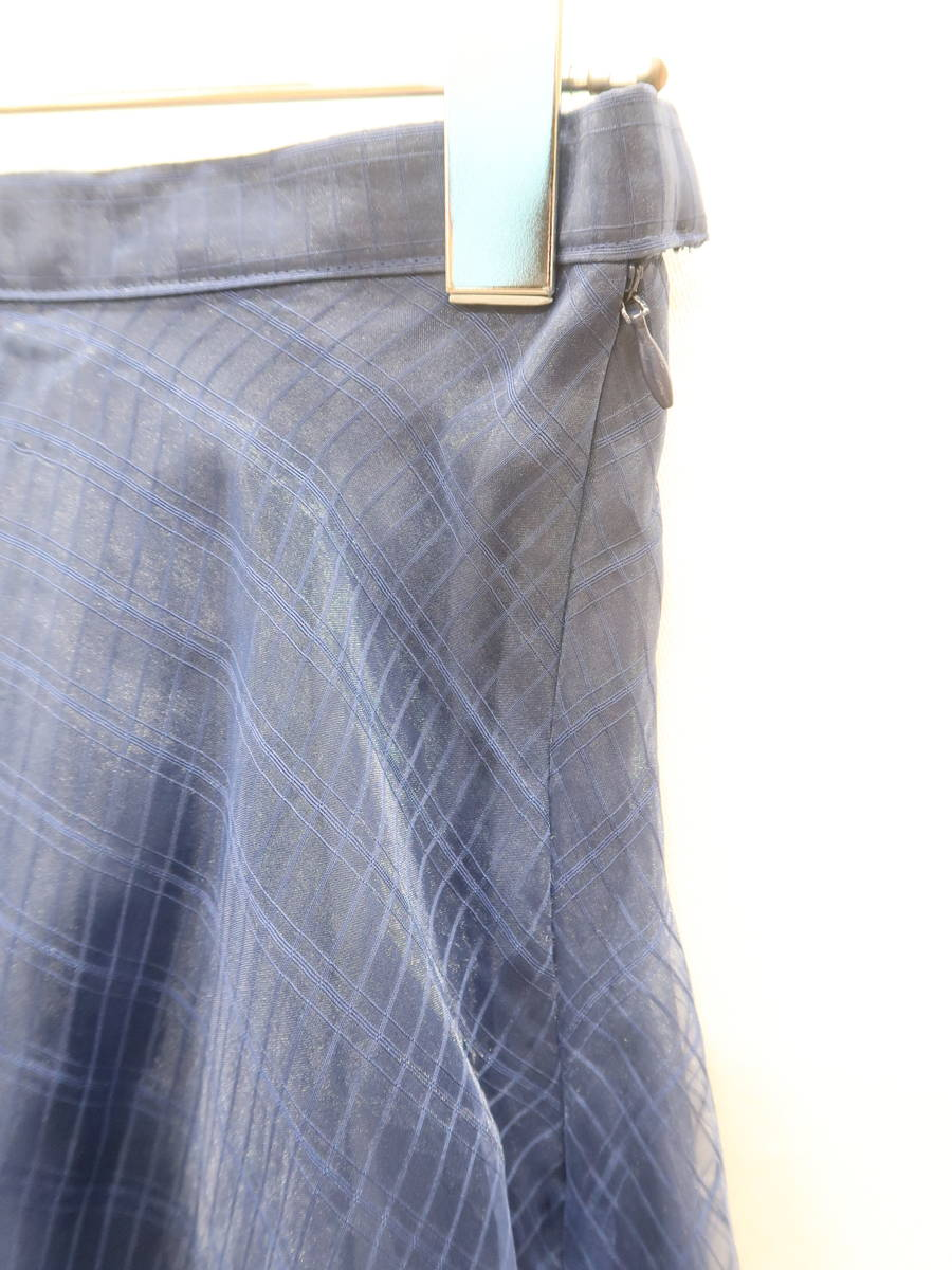 MERCURY Lux(マーキュリーリュクス)オーガンジーチェックフレアミディスカート 紺 レディース Aランク F [委託倉庫から出荷]
