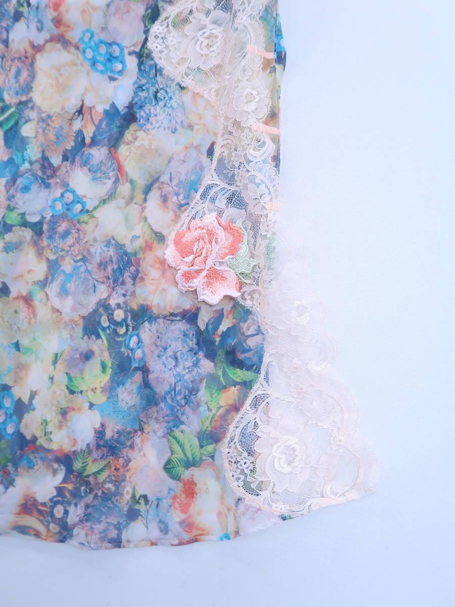 SERGWNT SALUTE(サージェントサルート)花柄レースキャミソール 青/黄 レディース Aランク M-80