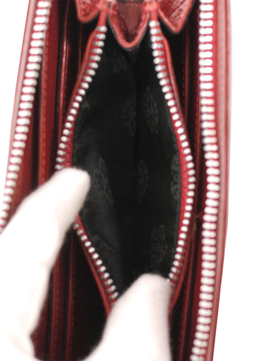 【送料無料】CHROME HEARTS(クロムハーツ)REC F ZIP 3セメタリークロス ラウンドファスナー長財布 赤 メンズ A-ランク [当店倉庫から出荷]