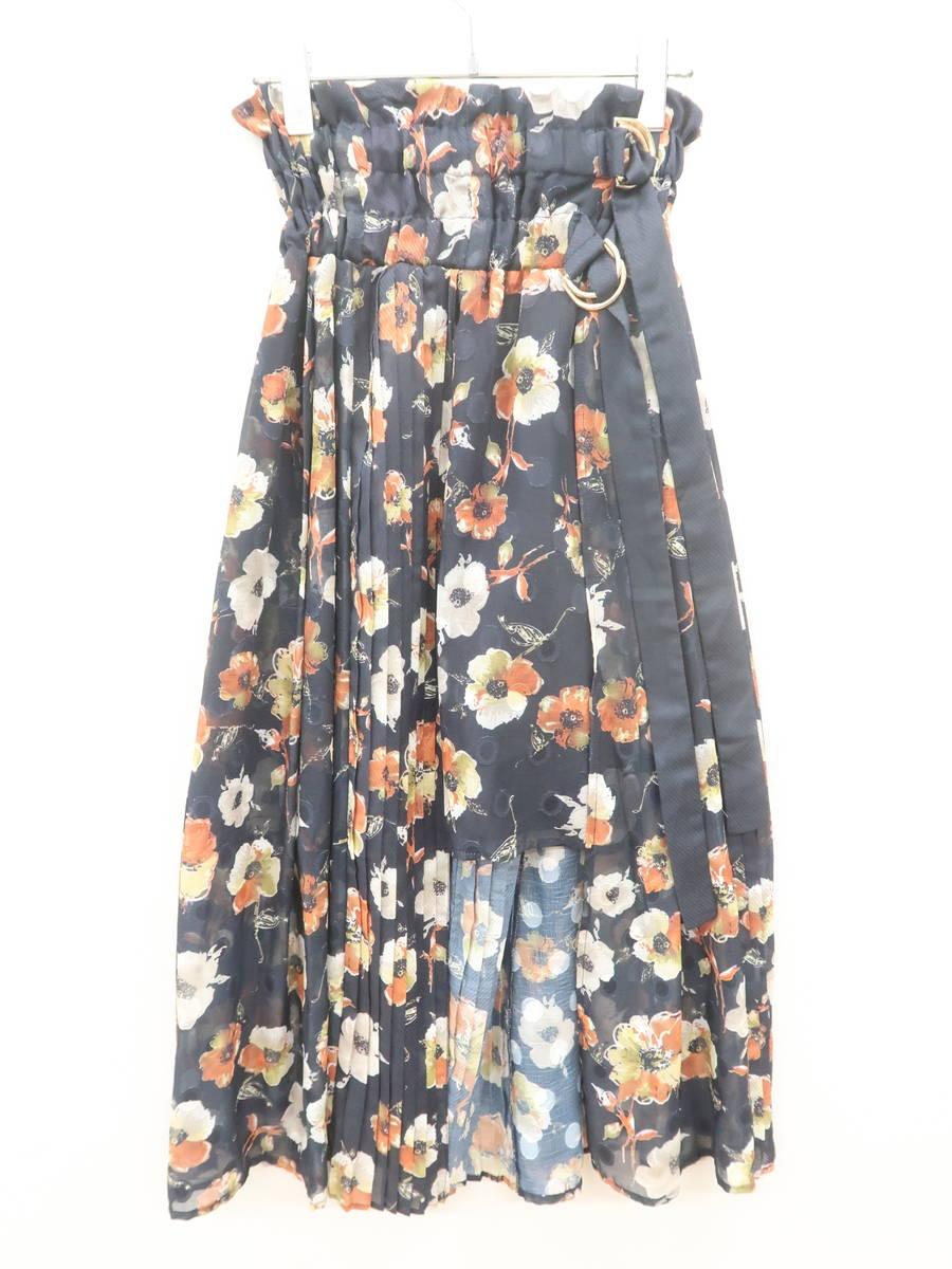 REDYAZEL(レディアゼル)ランダムプリーツベルトデザインフラワースカート 紺/オレンジ レディース Aランク S [委託倉庫から出荷]