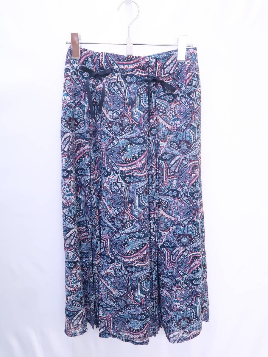 Lily Brown(リリーブラウン)[2019SS]ペイズリー柄スカート 紺 レディース Aランク 0 [委託倉庫から出荷]