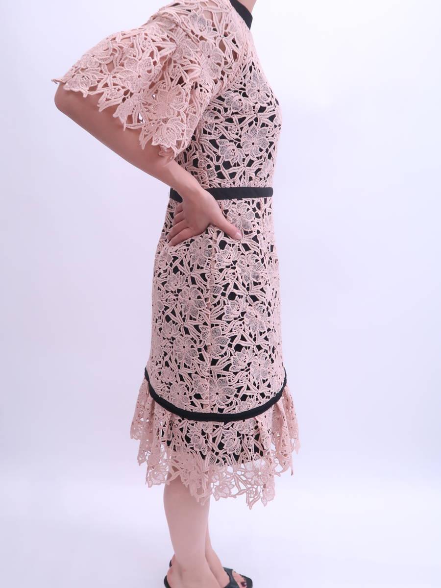 【送料無料】Lily Brown(リリーブラウン)[2019AW]異素材切り替えワンピース 五分袖 ピンク レディース Aランク 1 [委託倉庫から出荷]
