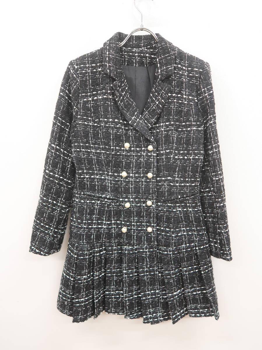 Tika(ティカ)裾タックツイードコート 長袖 黒/白 レディース A-ランク M [委託倉庫から出荷]