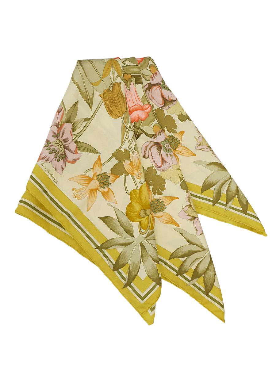 【送料無料】HERMES(エルメス)カレ90 シルクスカーフ フラワー 花柄 黄 レディース Aランク [当店倉庫から出荷]