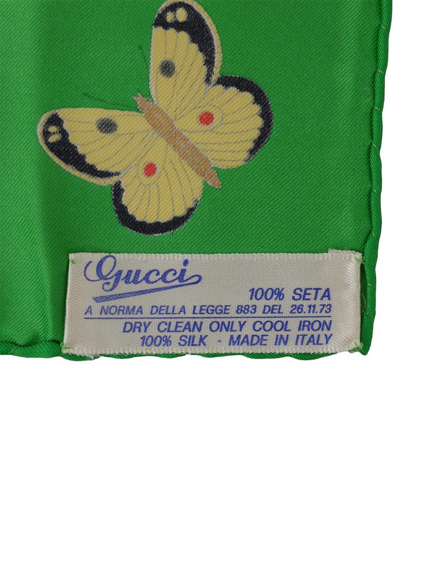 GUCCI(グッチ)オールドグッチ イタリア製 シルクスカーフ フラワー アゲハ蝶 緑/白 レディース Aランク [当店倉庫から出荷]