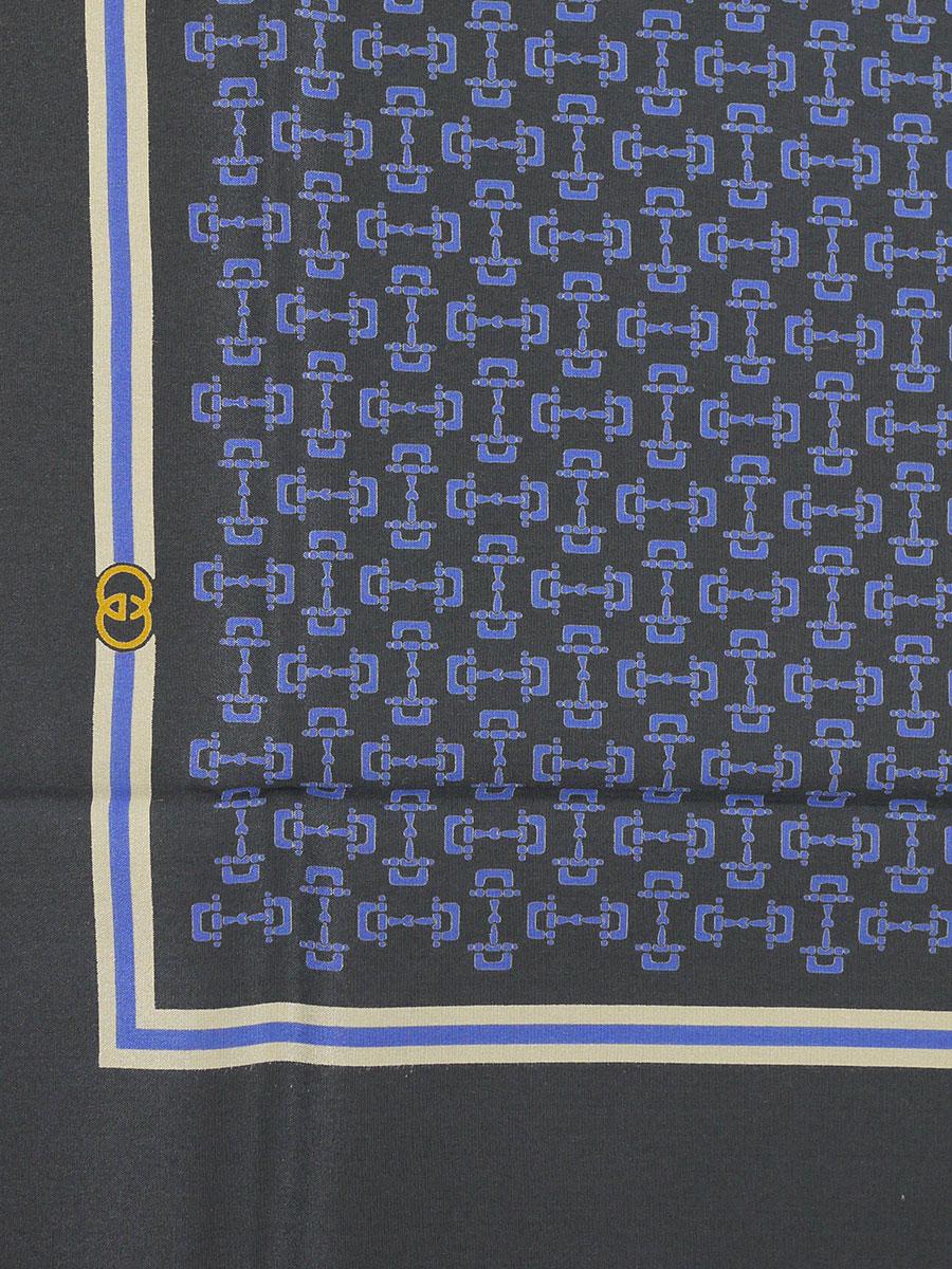 【送料無料】GUCCI(グッチ)イタリア製 シルクスカーフ シェリーライン GG チェーン 紺/青 レディース Sランク [当店倉庫から出荷]