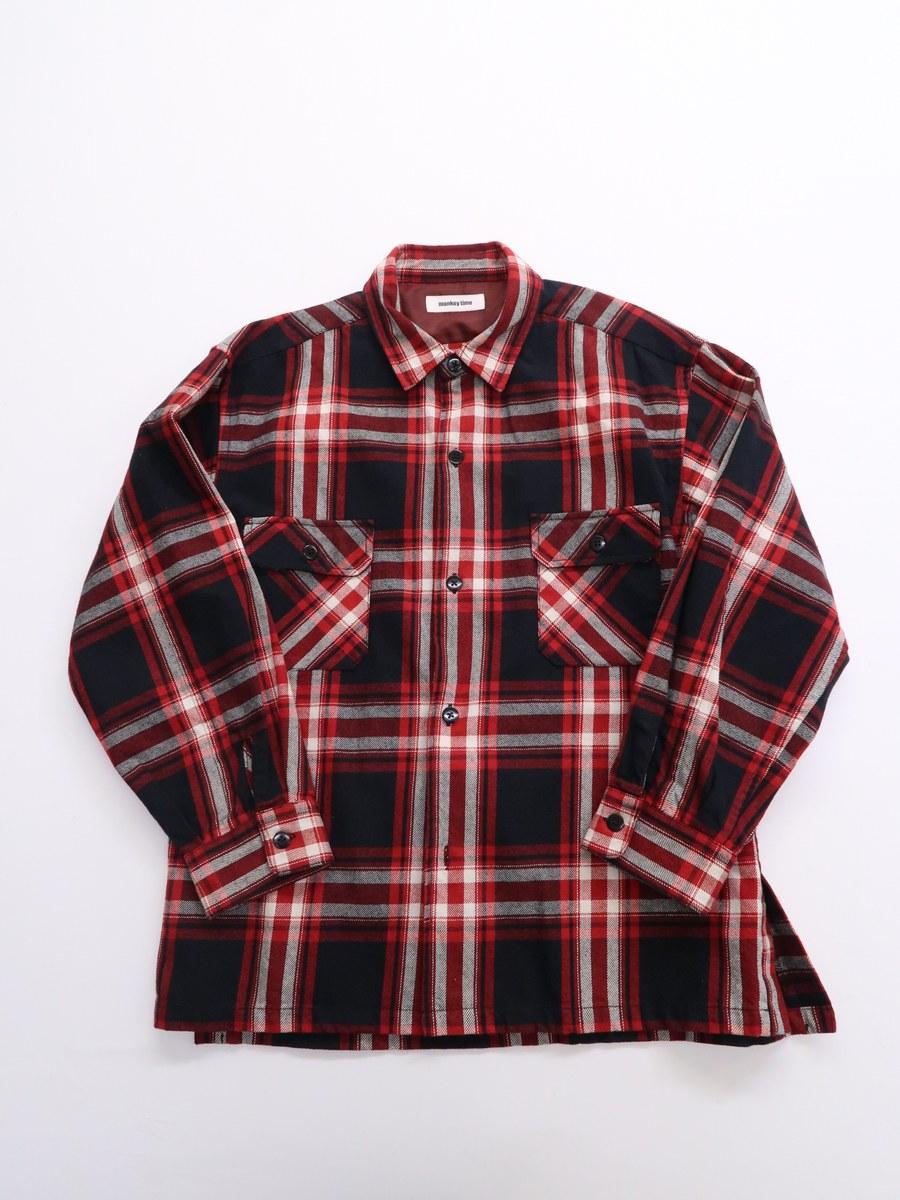 monkey time(ミンキータイム)コットンチェックシャツジャケット 長袖 赤 黒 レディース Aランク M