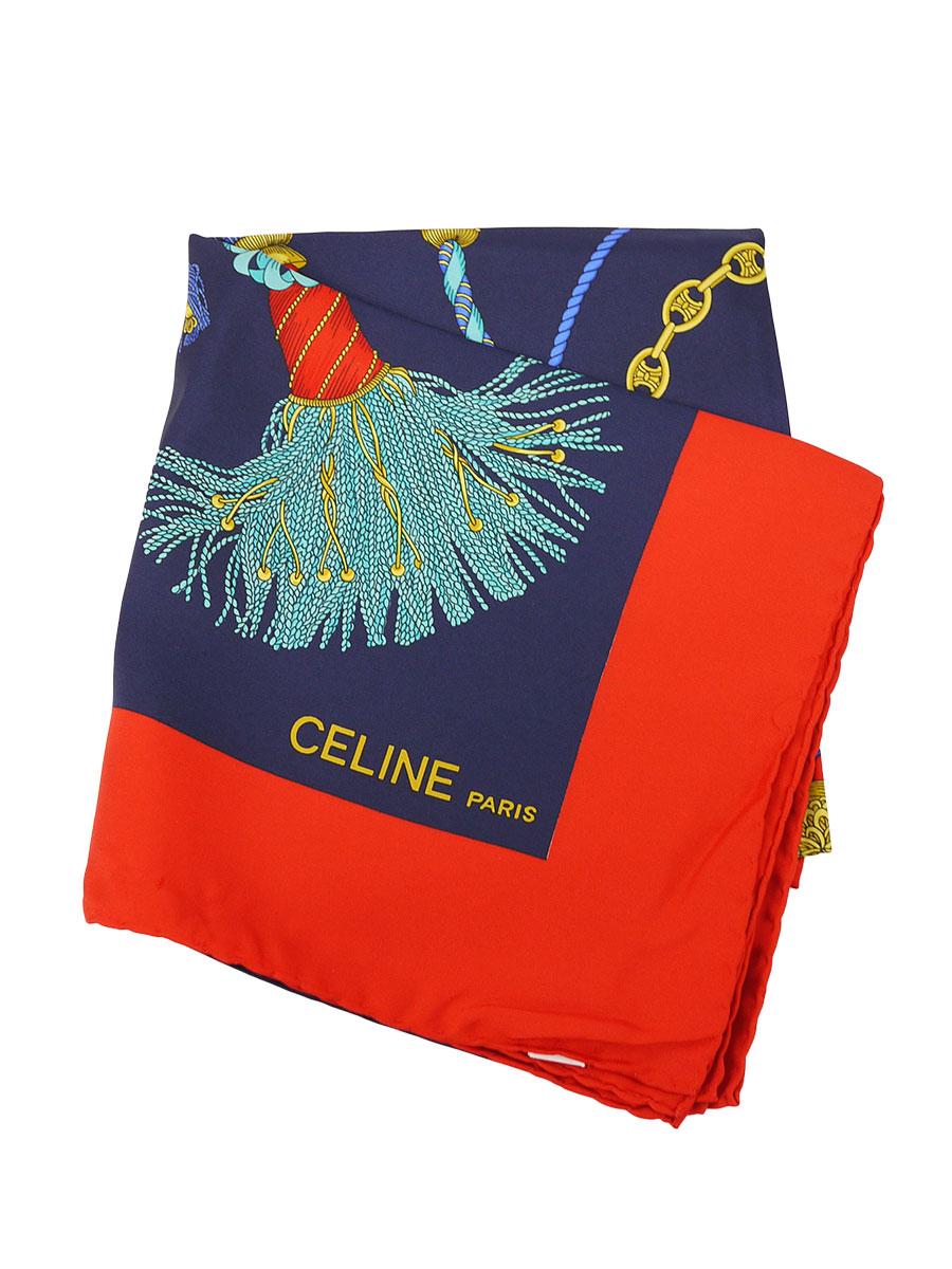 CELINE(セリーヌ)イタリア製 シルクスカーフ チェーンタッセル柄 紺/赤 レディース Sランク [当店倉庫から出荷]