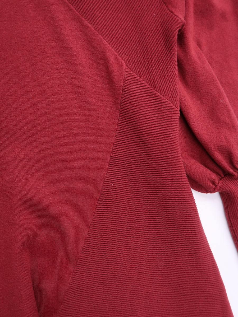 【送料無料】eimy istoire(エイミーイストワール)アシンメトリーニットロングワンピース 長袖 赤 レディース A-ランク F [委託倉庫から出荷]