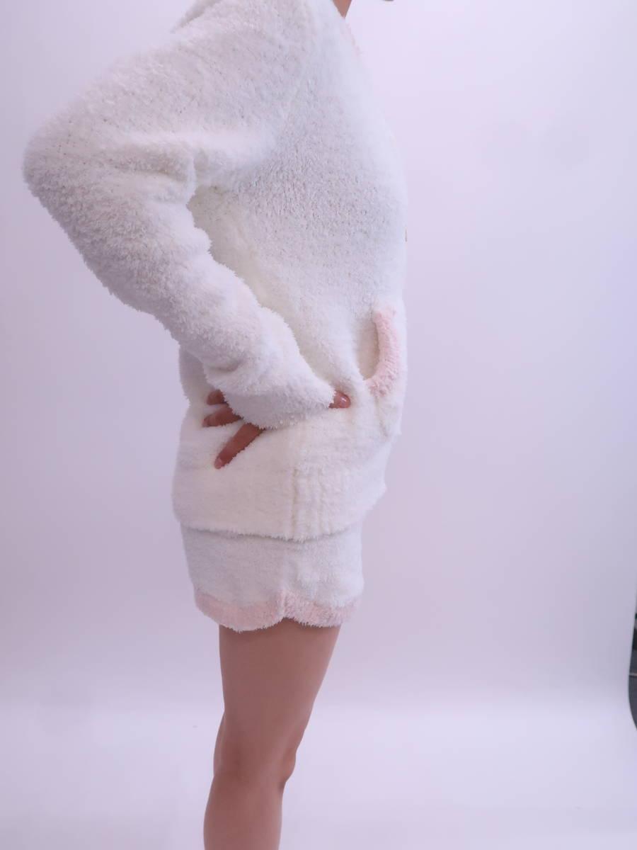 gelato pique(ジェラートピケ)モコモコパーカーショートセットアップ 長袖 白/ピンク レディース Aランク F [委託倉庫から出荷]