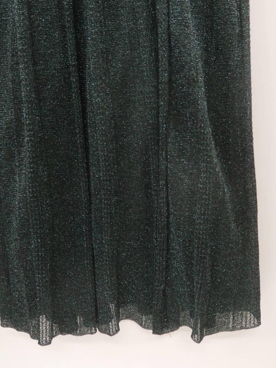 eimy istoire(エイミーイストワール)ランダムプリーツラメニットスカート 緑 レディース A-ランク F