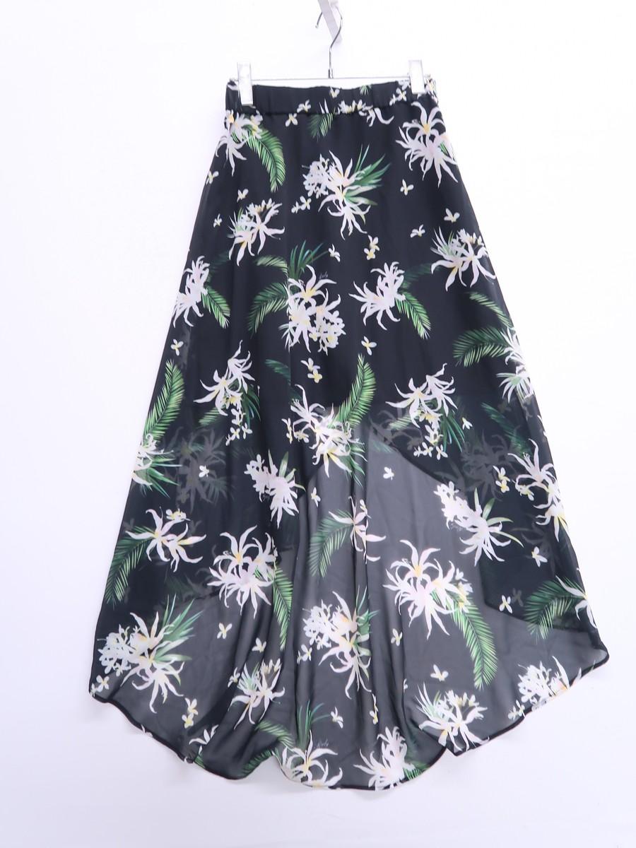 Rady(レディー)フラワーテールカットスカート 黒 白 レディース Aランク F