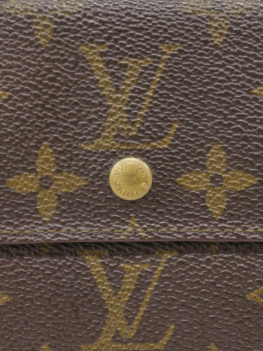 【送料無料】LOUIS VUITTON(ルイヴィトン)モノグラム ポルトモネ ビエ カルト クレディ M61652 ダブルホック財布 茶 レディース Bランク [当店倉庫から出荷]