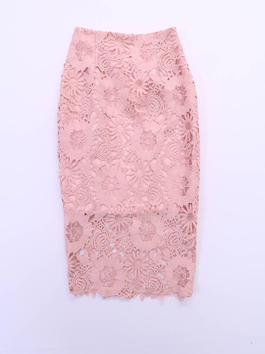 eimy istoire(エイミーイストワール)フラワーレースタイトスカート ピンク レディース Aランク S [委託倉庫から出荷]