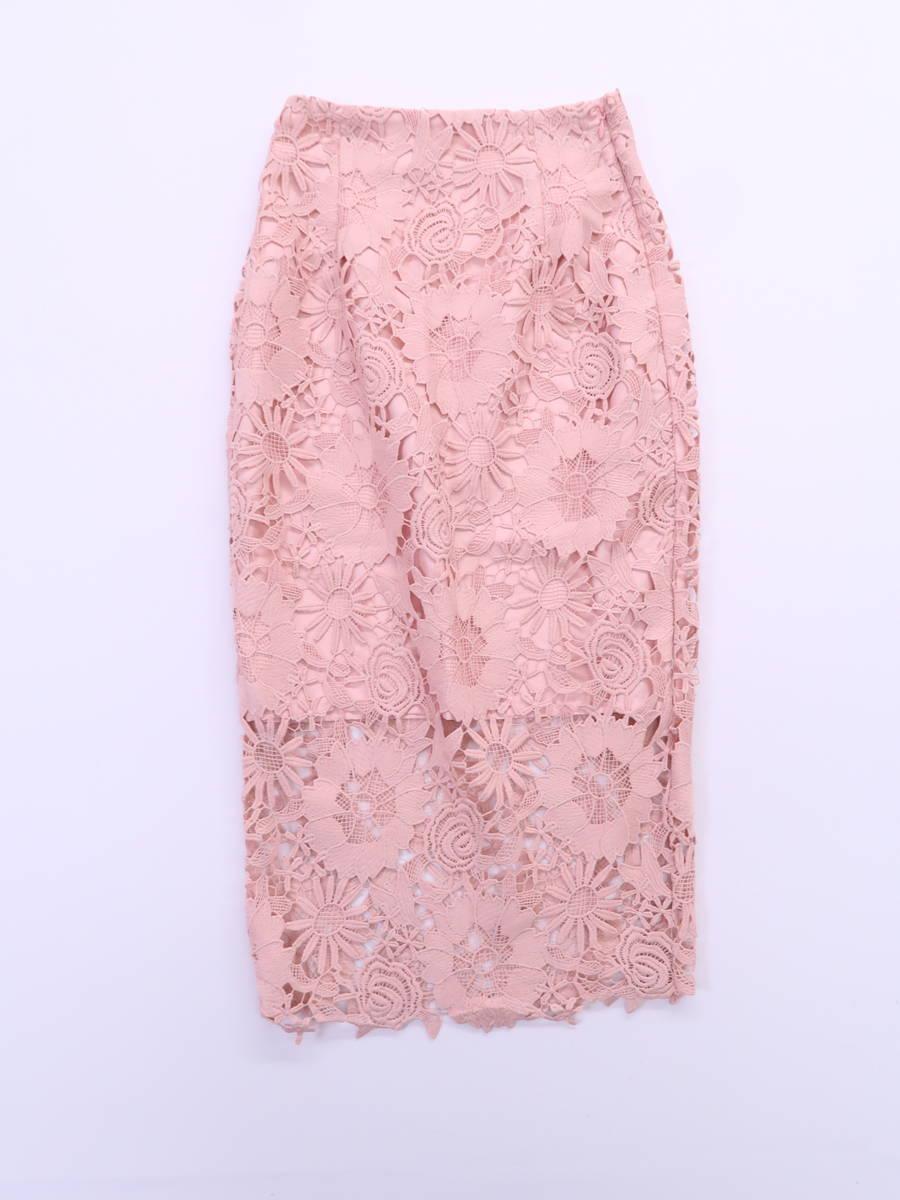 eimy istoire(エイミーイストワール)フラワーレースタイトスカート ピンク レディース Aランク S