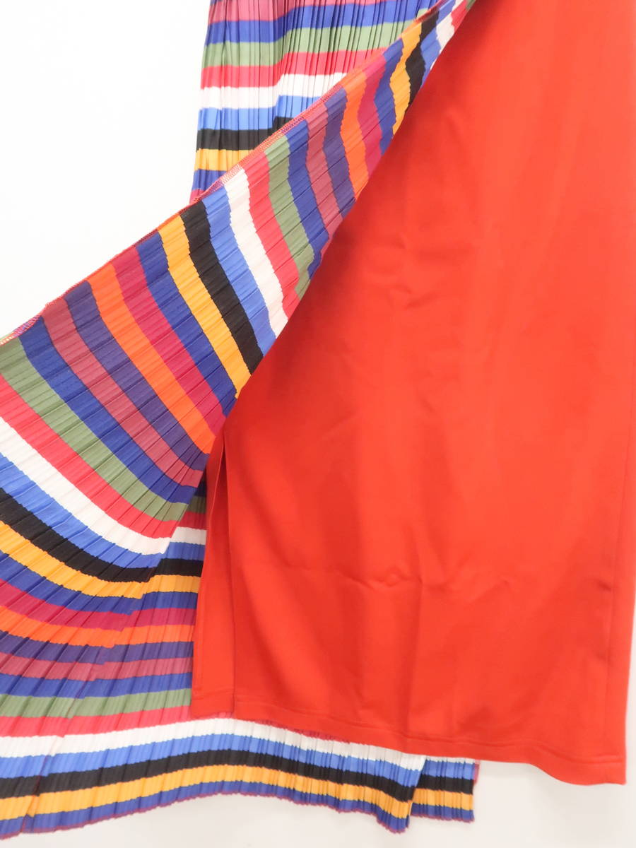 FIG&VIPER(フィグ&ヴァイパー)[2019]カラフルプリーツアシンメトリーロングスカート 赤/白 レディース 新品 F [委託倉庫から出荷]