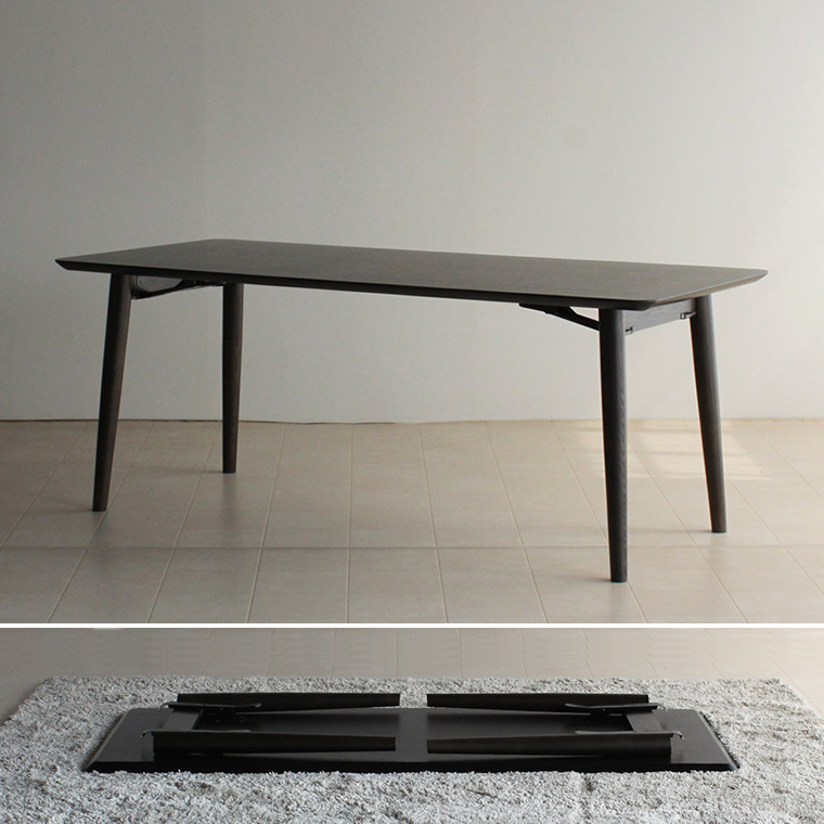ダイニングテーブル 幅180cm タモ材 折りたたみ 折り畳み 折畳み フォールディング 黒 白 ブラック ホワイト 北欧 和モダン デザイン デザイナー おしゃれ 人気 手作り diy 日本製 国産 モダン シンプル 家具メーカー