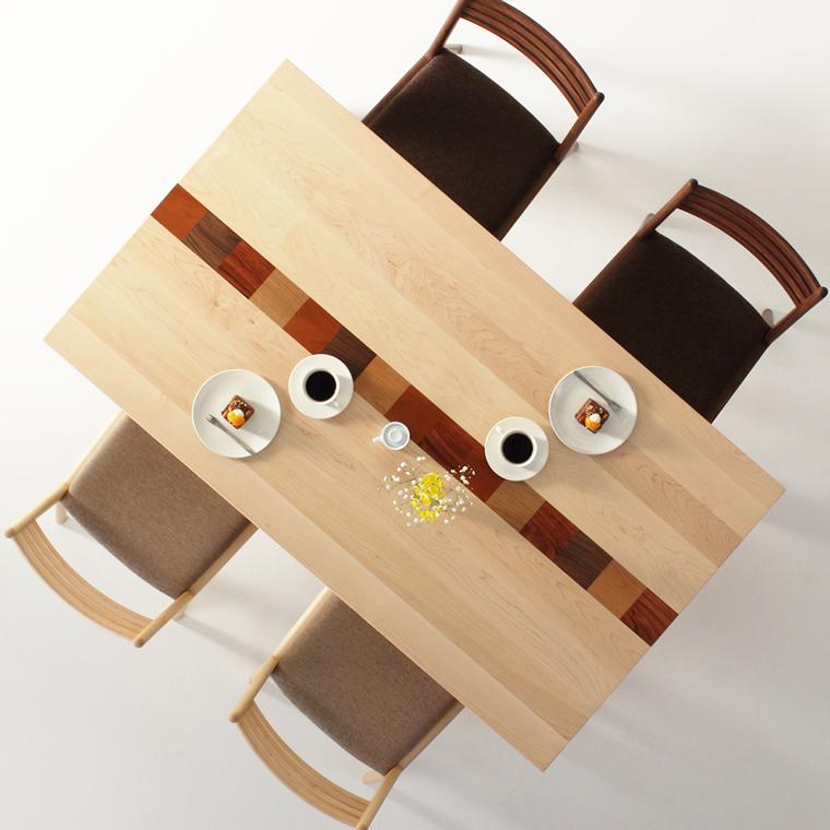 ダイニングテーブル 幅90cm〜180cm 高さ65cm〜74cm ハードメープル材 モロッコ カラフル 食堂テーブル 無垢材 北欧 和モダン デザイン デザイナー おしゃれ 人気 手作り diy 木製 天然木 日本製 国産 モダン ナチュラル シンプル 家具職人 家具メーカー