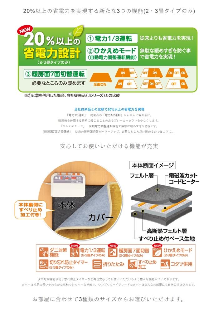 【冬のキャンペーン実施中】電磁波99%カット 電気ホットカーペット・2畳