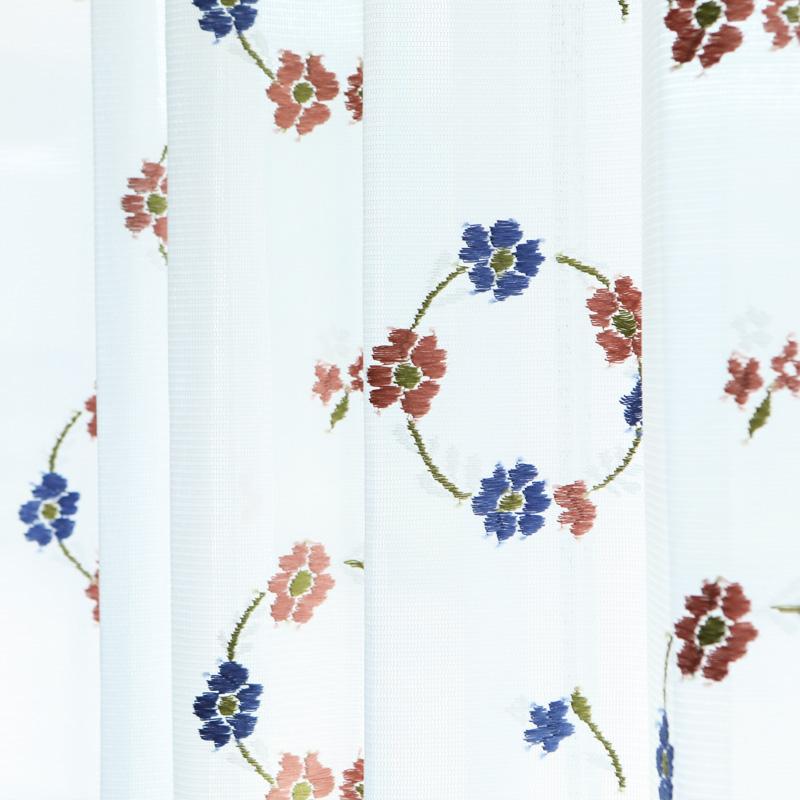 【既製】UVミラーレースカーテン(フラワーブーケ)