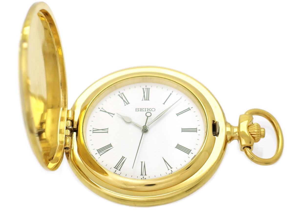 セイコー 懐中時計 7N21-0AE0 金メッキ ハンターケース 45mm 鎖つき クオーツ USED