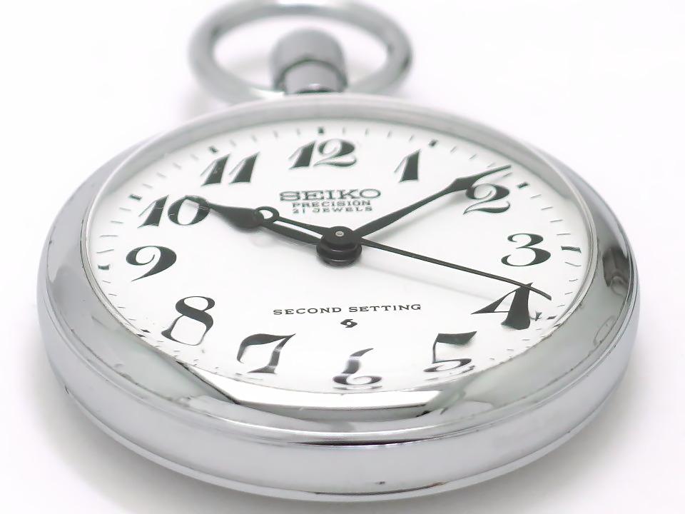 セイコー 鉄道時計 岡鉄 6110-0010 懐中時計 21石 手巻 OH済 昭和48年/1973年製 Seiko