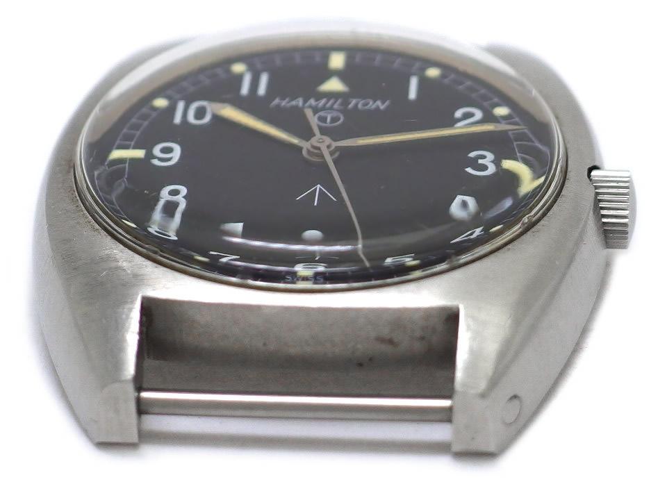 ハミルトン イギリス軍用時計 英国陸軍官給品 ブロードアロー W10-6645-99 ミリタリーウォッチ ワンピースケース 手巻 OH済 1973年頃