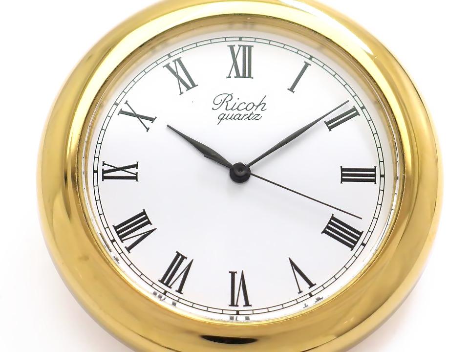 リコー 懐中時計 37mm Ref.312011 ローマインデックス 金メッキ 鎖付き クオーツ 1990年代 USED