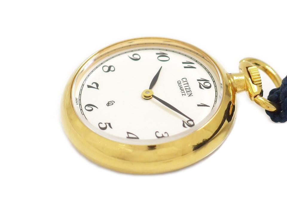 シチズン 懐中時計 29mm 和装用提げ時計 アラビアインデックス 花柄 象嵌 金メッキ クオーツ USED