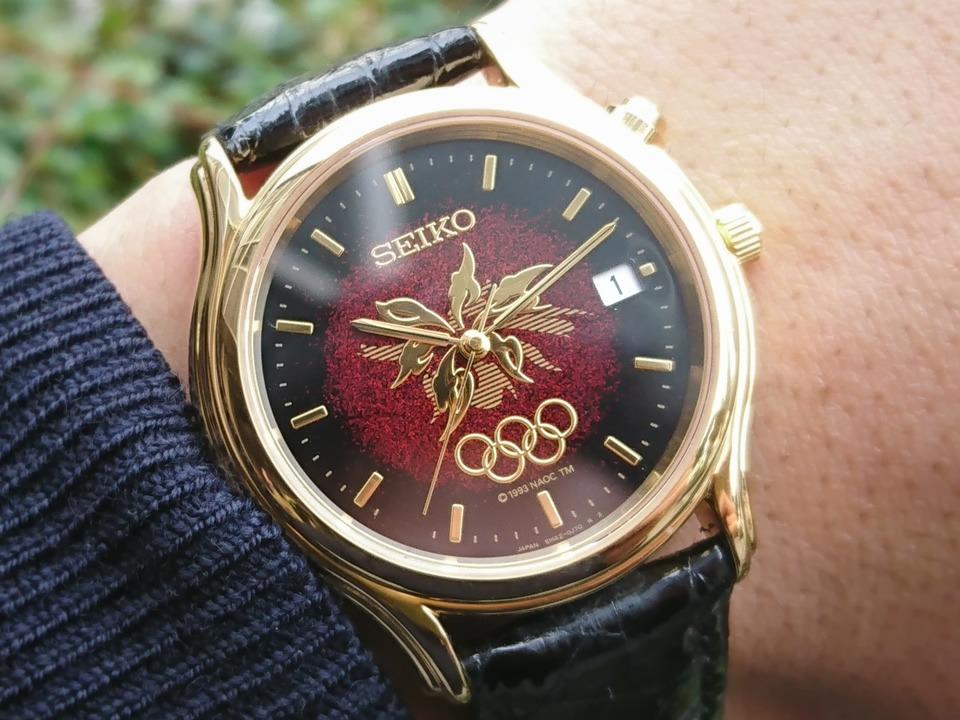 セイコー 長野オリンピック記念 5M42-0F60 漆モデル キネティック 1998年 USED Seiko