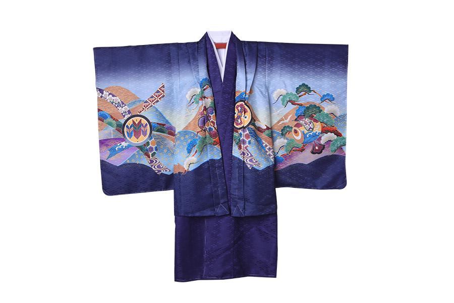 男の子 袴10点セット 羽織 着物 長襦袢 袴 角帯 懐剣 雪駄 お守り 羽織紐 扇子