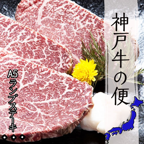 【1万円コース】神戸牛A5ランクステーキ(ランプ)450g(150g×3)