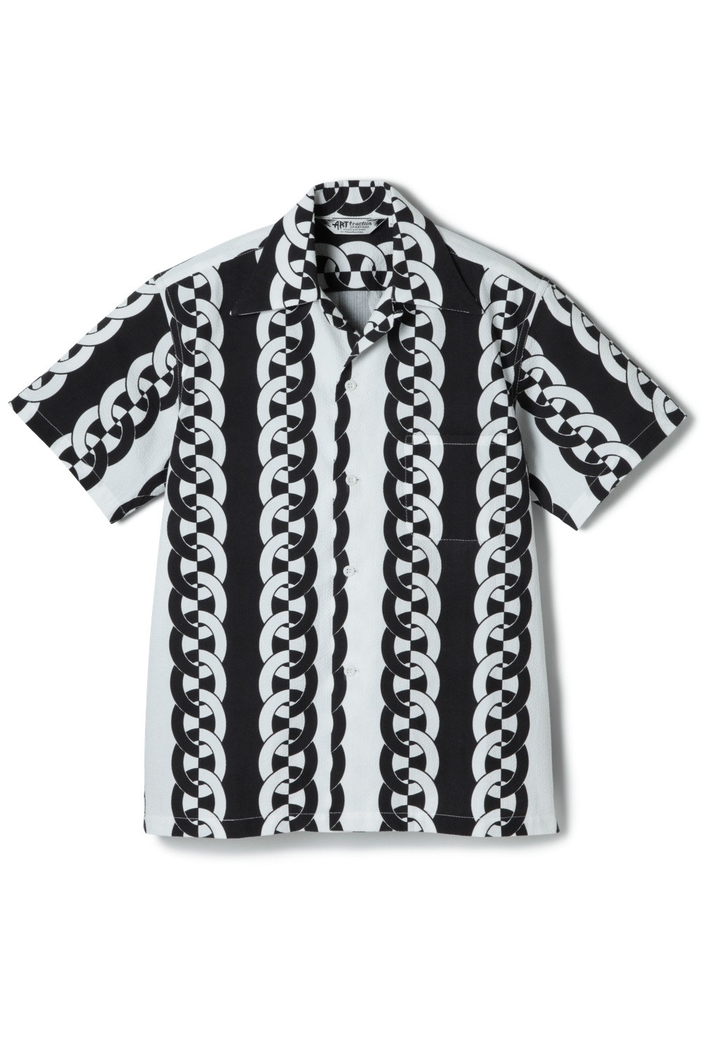 Chain Seersucker Shirt -Black-