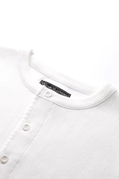 Henley Neck Thermal Shirt -White-