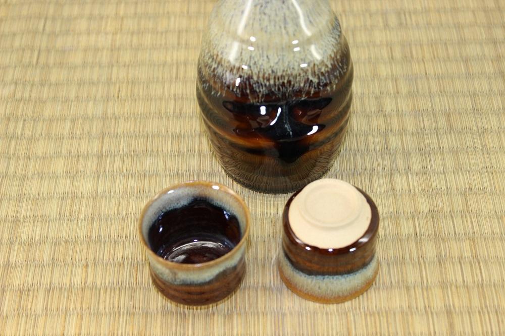 (高取焼 比古窯)酒器セット飴釉