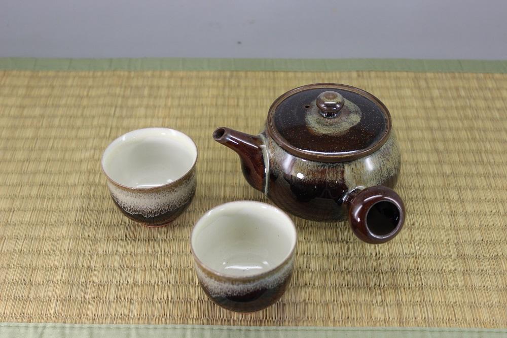 (高取焼 比古窯)飴釉茶器セット