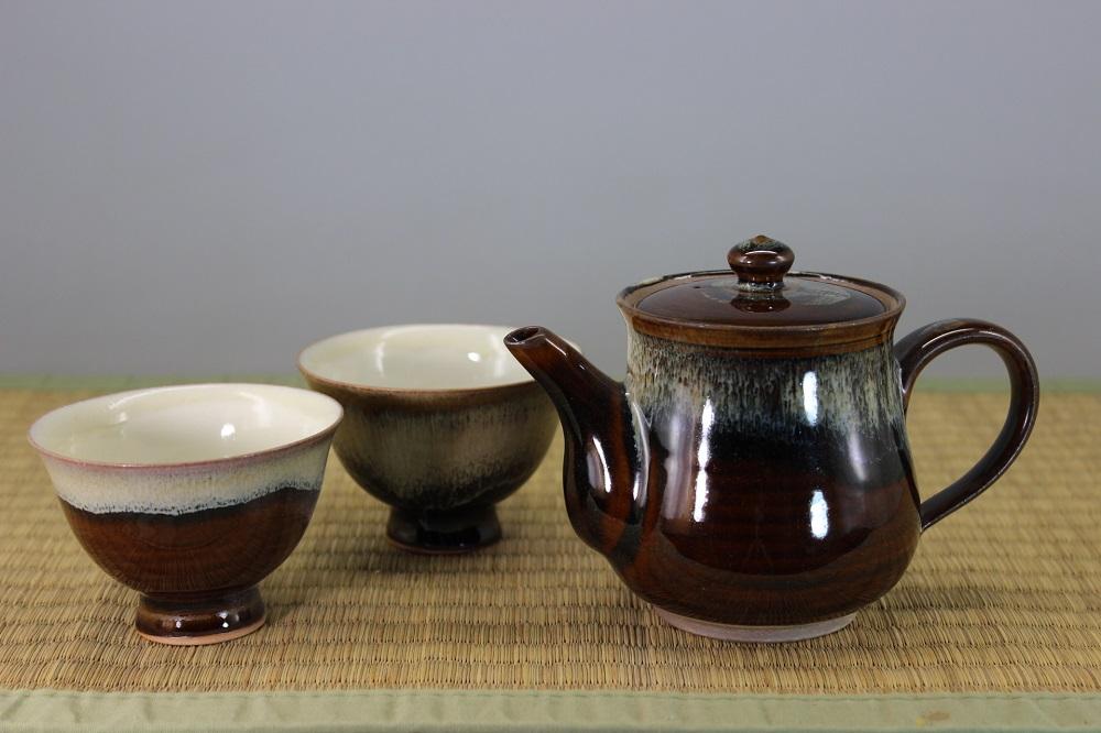 (高取焼 比古窯)道化釉茶器セット