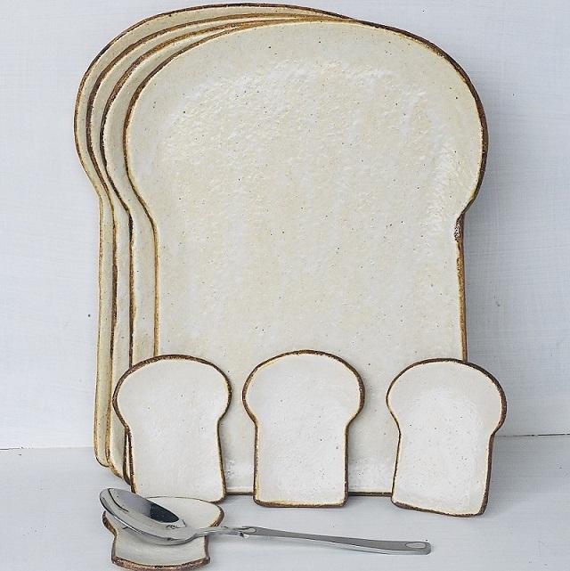 (716)食パンの皿(大)4枚と薬味皿4枚セット