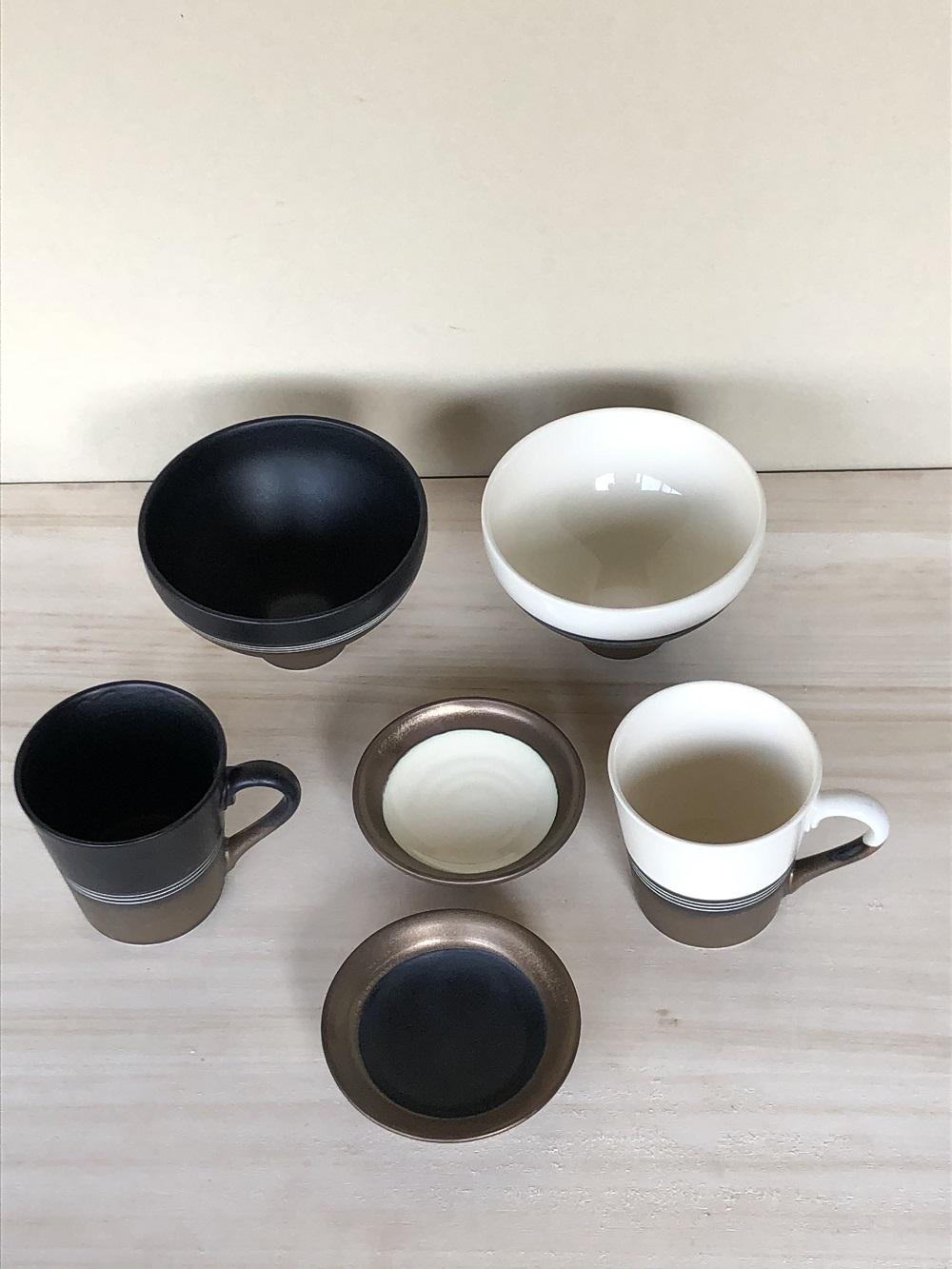 (窯元 和陶苑)金彩釉セット白・黒