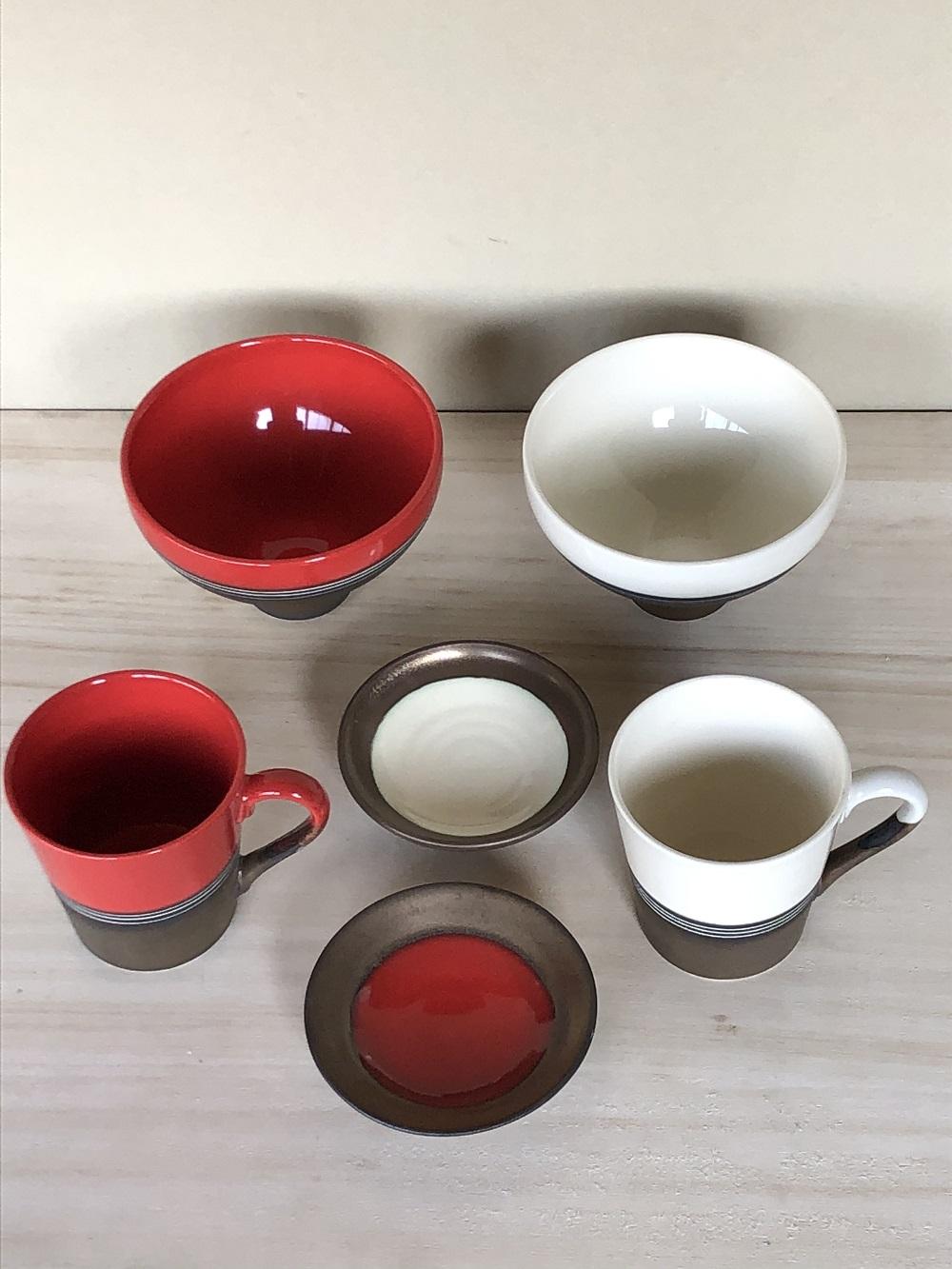 (窯元 和陶苑)金彩釉セット赤・白
