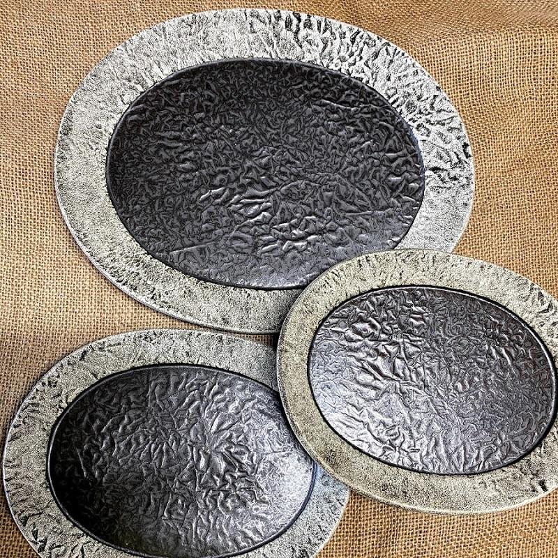 (宝寿窯)粉引き楕円オーバル皿3点セット