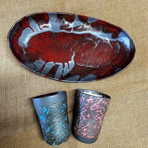 (宝寿窯)辰砂流し楕円鉢、フリーカップ3点セット