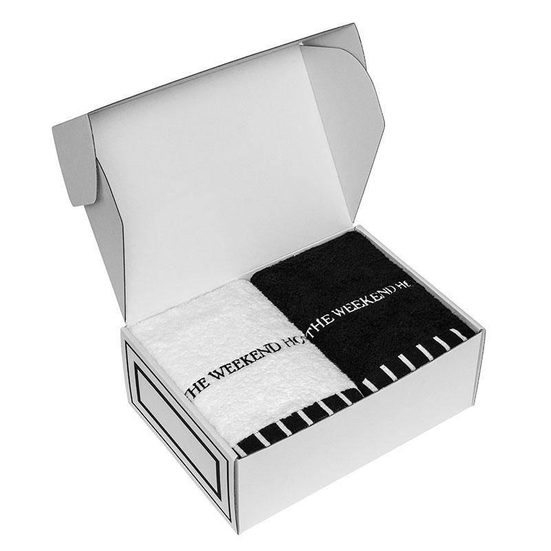 Bath Towel GIFT BOX(L size White 1枚, L size Black1枚セット)